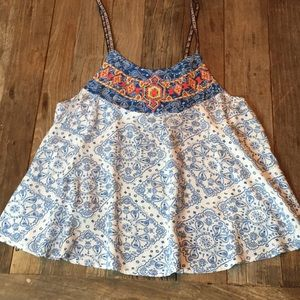 Flying Tomato Blue White Paisley Embroidered Tank